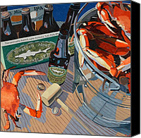 Oil Cat  Canvas Prints - Beer and Crabs Number One Canvas Print by Christopher Mize