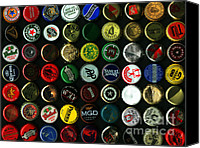 Bottle Cap Canvas Prints - Beer Bottle Caps . 9 to 12 Proportion Canvas Print by Wingsdomain Art and Photography
