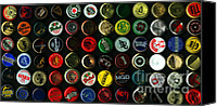 Bottle Cap Canvas Prints - Beer Bottle Caps . 2 to 1 Proportion Canvas Print by Wingsdomain Art and Photography