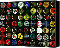 Bottle Cap Canvas Prints - Beer Bottle Caps . 8 to 10 Proportion Canvas Print by Wingsdomain Art and Photography