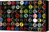 Bottle Cap Canvas Prints - Beer Bottle Caps . 8 to 12 Proportion Canvas Print by Wingsdomain Art and Photography