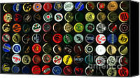 Bottle Cap Canvas Prints - Beer Bottle Caps . 9 to 16 Proportion Canvas Print by Wingsdomain Art and Photography