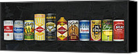 Bars Painting Canvas Prints - Beer Cans Canvas Print by The Vintage Painter