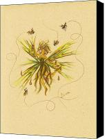 Fairies Drawings Canvas Prints - Bees to Honey Canvas Print by Dawn Fairies
