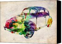 Vw Beetle Canvas Prints - Beetle Urban Art Canvas Print by Michael Tompsett