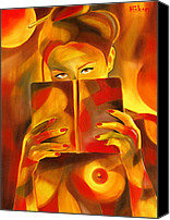 Nude Woman Reading Painting Canvas Prints - Behind Her Book Canvas Print by Hakon Soreide