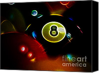 Billiard Digital Art Canvas Prints - Behind The Eight Ball - Electric Art Canvas Print by Wingsdomain Art and Photography
