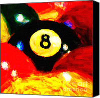 Billiard Digital Art Canvas Prints - Behind The Eight Ball - Square Canvas Print by Wingsdomain Art and Photography