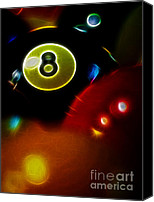 Billiard Digital Art Canvas Prints - Behind The Eight Ball - Vertical Cut - Electric Art Canvas Print by Wingsdomain Art and Photography