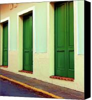 Puerto Rico Photo Canvas Prints - Behind the Green Doors Canvas Print by Debbi Granruth