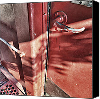 Door Handles Canvas Prints - Behind the Red Door Canvas Print by Jason Politte