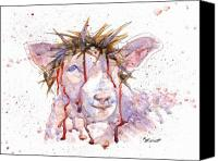Blood Canvas Prints - Behold the Lamb Canvas Print by Marsha Elliott