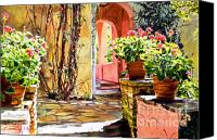 Spanish Style Canvas Prints - Bel-Air Geraniums Canvas Print by David Lloyd Glover
