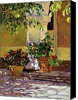 Flower Pots Canvas Prints - Bel-Air Patio Steps Canvas Print by David Lloyd Glover