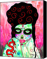 Sugar Skull Painting Canvas Prints - Belannas Dragon Canvas Print by B Marie