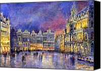 Buildings Canvas Prints - Belgium Brussel Grand Place Grote Markt Canvas Print by Yuriy  Shevchuk