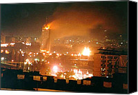 Civilians Canvas Prints - Belgrade Buildings On Fire On April 21 Canvas Print by Everett