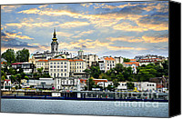 Danube Canvas Prints - Belgrade cityscape on Danube Canvas Print by Elena Elisseeva
