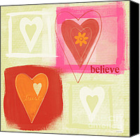 Love Hearts Canvas Prints - Believe In Love Canvas Print by Linda Woods