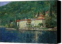 Green Canvas Prints - Bellano on Lake Como Canvas Print by Guido Borelli