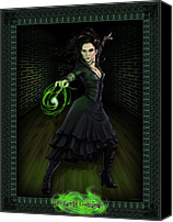 Black Digital Art Canvas Prints - Bellatrix Lestrange Canvas Print by Christopher Ables