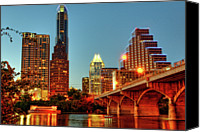 Austin Skyline Canvas Prints - Below Congress Avenue Bridge Canvas Print by David Hensley