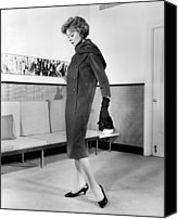 1950s Fashion Canvas Prints - Below-the-knee Trapezoid Dress Canvas Print by Everett
