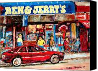 Montreal Street Life Canvas Prints - Ben And Jerrys Ice Cream Parlor Canvas Print by Carole Spandau