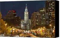 Parkway Canvas Prints - Ben Franklin Parkway and City Hall Canvas Print by John Greim
