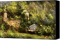 Greenish Canvas Prints - Bench - Edens Edge  Canvas Print by Mike Savad