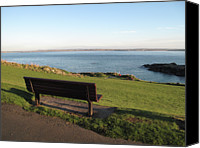 Cornwall Canvas Prints - Bench In St Ives Cornwall Canvas Print by Thepurpledoor