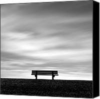 Cloud Glass Canvas Prints - Bench, Long Exposure Canvas Print by Kees Smans