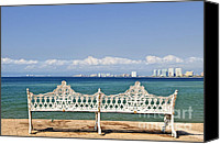 Pacific Canvas Prints - Bench on Malecon in Puerto Vallarta Canvas Print by Elena Elisseeva