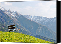 Mountains Canvas Prints - Bench Canvas Print by Rolfo Eclaire