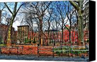 Greenwich Canvas Prints - Bench View in Washington Square Park Canvas Print by Randy Aveille