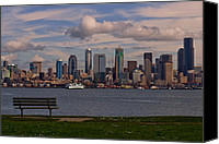 Seattle Waterfront Canvas Prints - Bench with a View Canvas Print by Dan Mihai