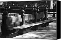 Park Benches Digital Art Canvas Prints - BENCHES of CENTRAL PARK in BLACK AND WHITE Canvas Print by Rob Hans