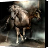 Horses Mixed Media Canvas Prints - Beneath A Summer Moon Canvas Print by Carol Cavalaris