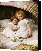 Sat Canvas Prints - Beneath the Wing of an Angel Canvas Print by William Strutt