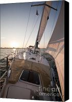 Charleston Sailboat Tours Canvas Prints - Beneteau 49 Sailing Yacht close hauled charleston sunset Sailboat Canvas Print by Dustin K Ryan