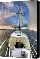 Charleston Sc Harbor Tours Canvas Prints - Beneteau Sailboat Sailing Sunset Canvas Print by Dustin K Ryan