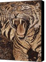 Animals Prints Pyrography Canvas Prints - Bengal Tiger Canvas Print by Vera White