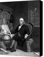 Founding Father Drawings Canvas Prints - Benjamin Franklin -- The Scientist Canvas Print by War Is Hell Store