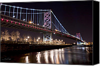 Philadelphia Skyline Canvas Prints - Benjamin Franklin Bridge Canvas Print by Shane Psaltis