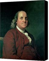 Half-length Painting Canvas Prints - Benjamin Franklin Canvas Print by Joseph Wright of Derby