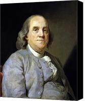 Founding Fathers Painting Canvas Prints - Benjamin Franklin Canvas Print by War Is Hell Store