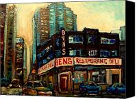 Montreal Street Life Canvas Prints - Bens Restaurant Deli Canvas Print by Carole Spandau