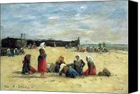 Beach Scenes Canvas Prints - Berck - Fisherwomen on the Beach Canvas Print by Eugene Louis Boudin