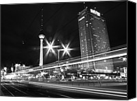 Berlin Canvas Prints - Berlin Alexanderplatz At Night Canvas Print by Bernd Schunack