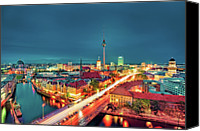 Berlin Canvas Prints - Berlin City At Night Canvas Print by Matthias Haker Photography